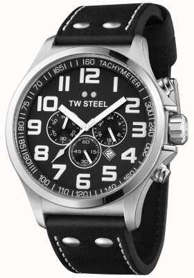 TW Steel Męski pilot chronograf czarny skórzany pasek czarna tarcza TW413