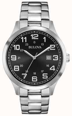 Bulova Wyświetlacz daty czarna metalowa bransoleta ze stali nierdzewnej 96B274