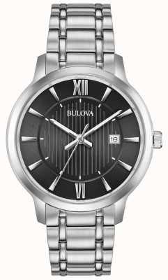 Bulova Wyświetlacz daty czarna metalowa bransoleta ze stali nierdzewnej 96B278