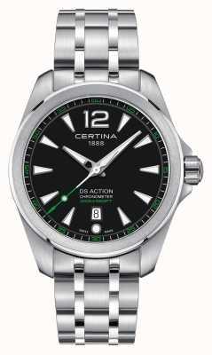 Certina Męski zegarek ds action kwarcowy ze stali nierdzewnej z czarną tarczą C0328511105702