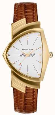 Hamilton Złoty skórzany pasek firmy Ventura w kolorze brązowym H24301511