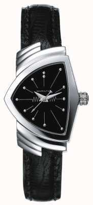 Hamilton Damski zegarek ze stali nierdzewnej Ventura i czarnej skóry H24211732