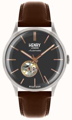 Henry London Męski pasek skórzany z automatyczną niebieską tarczą HL42-AS-0281