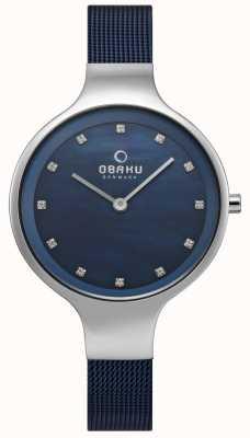Obaku Damski zegarek na niebie, niebieska bransoletka z siatki V173LXCLML