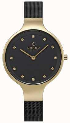Obaku Damski zegarek na niebo z czarną siateczkową bransoletą w kolorze złotym V173LXGBMB