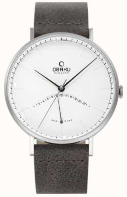 Obaku Męski zegarek z wiązu, czarny skórzany pasek z białą tarczą V213GUCIRJ