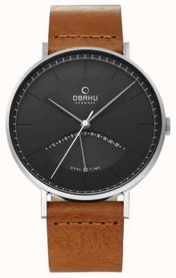 Obaku Męski zegarek z wiązu skórzany pasek w kolorze czarnym V213GUCURZ