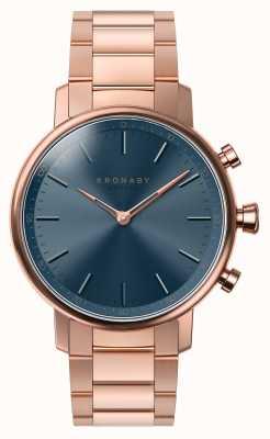 Kronaby 38mm karatowa bluetooth bransoletka z różowego złota, niebieska tarcza smartwatch A1000-2445
