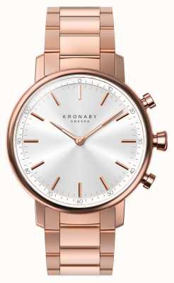 Kronaby 38mm karatowa bluetooth bransoleta z różowego złota, srebrny zegarek A1000-2446