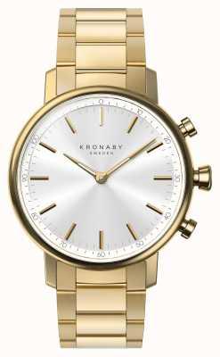 Kronaby 38mm karatowa bluetooth złota bransoletka srebrna tarcza smartwatch A1000-2447