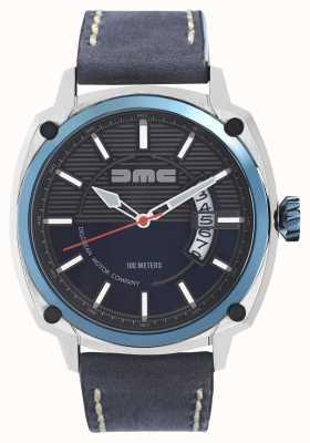 DeLorean Motor Company Watches Alfa dmc niebieski męski szary skórzany pasek niebieska tarcza DMC-2