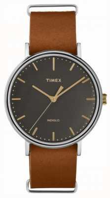 Timex Skórzany pokrowiec z brązowej skóry Fairfield 41 mm TW2P97900