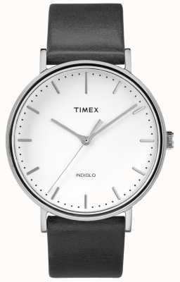 Timex Czarny skórzany pasek Fairfield 41 mm / biała tarcza TW2R26300