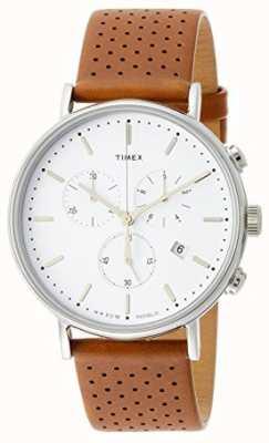 Timex Brązowy skórzany pasek Fairfield z chronografem / biała tarcza TW2R26700