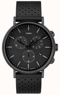 Timex Czarny pasek skórzany Fairfield Chrono / czarna tarcza TW2R26800