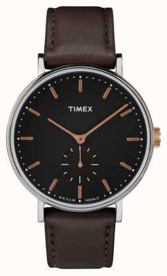 Timex Pokrowiec z czarnej srebrnej tarczy Fairfield i brązowym paskiem TW2R38100