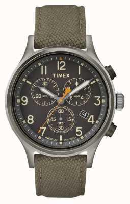 Timex Pokrewny zielony pasek z nylonu / czarna tarcza TW2R47200