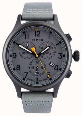 Timex Pokryty szarą skórą skórzany pasek z szarą tarczą TW2R47400