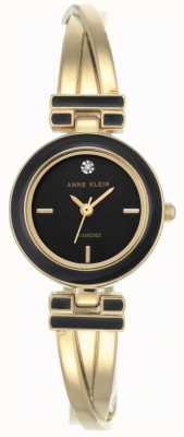 Anne Klein Damska melanżowa bransoleta ze złotym odcieniem czarna tarcza AK/N2622BKGB