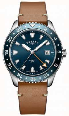 Rotary Mens henley gmt brązowy skórzany niebieski zegarek GS05108/05