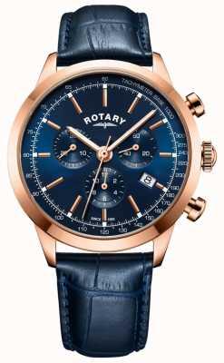 Rotary Męski skórzany zegarek z chronografem z czarnej cambridge GS05257/05