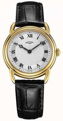 Rotary Damski zegarek skórzany z czarnej skóry w stylu canterbury LS05338/21