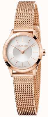 Calvin Klein Damska bransoletka z białej, różowej siatki, biała tarcza K3M23626