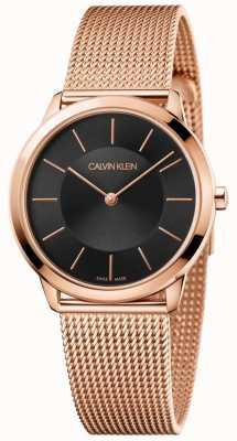 Calvin Klein Damska minimalna bransoletka z różowej, złotej siatki, czarna tarcza K3M2262Y