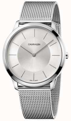 Calvin Klein Bransoletka męska minimalistyczna szara siatka srebrna tarcza K3M2T126