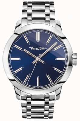 Thomas Sabo Męskie rebelianckie zegarki ze stali nierdzewnej z niebieską tarczą WA0310-201-209-46