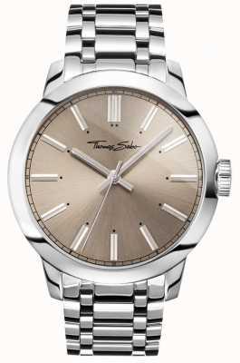 Thomas Sabo Męskie rebelianckie zegarki ze stali nierdzewnej z szarą tarczą WA0311-201-214-46