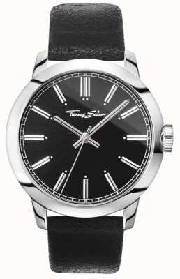 Thomas Sabo Męski buntowniczy zegarek na rękę z czarnym skórzanym paskiem z czarną tarczą WA0312-203-203-46