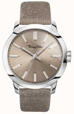 Thomas Sabo Męski buntowniczy zegarek na rękę z szarego skórzanego paska z szarą tarczą WA0313-273-214-46