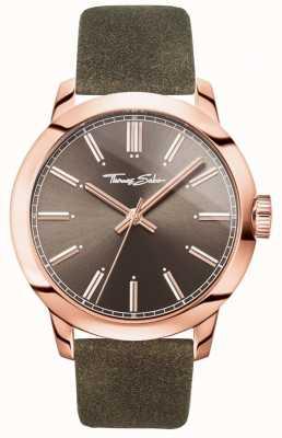 Thomas Sabo Męski buntownik w sercu zegarka brązowy skórzany pasek z brązową tarczą WA0314-266-205-46