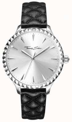Thomas Sabo Damski buntowniczy zegarek na sercu z czarnym skórzanym paskiem ze srebrną tarczą WA0320-203-201-38