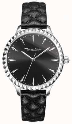 Thomas Sabo Damski buntownik w sercu zegarka czarny skórzany pasek czarna tarcza WA0321-203-203-38