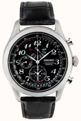 Seiko Męski zegarek chronograf czarny czarny skórzany pasek SPC133P1