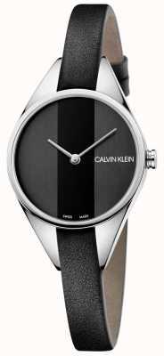 Calvin Klein Zegarek damski z czarnej skóry z cienkiej skóry K8P231C1