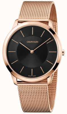 Calvin Klein Męskie bransoletki z czarnej, minimalistycznej bransoletki z różowego złota K3M2T621