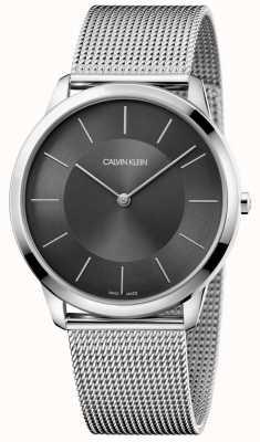 Calvin Klein Męskie bransoletki z czarnej, minimalistycznej srebrnej siatki ze stali nierdzewnej K3M2T124