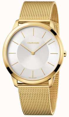 Calvin Klein Męska minimalna bransoleta z żółtego złota z srebrnym zegarkiem K3M2T526