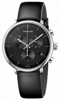Calvin Klein Zegarek chronograf męski czarny zegarek z czarnej skóry K8M271C1
