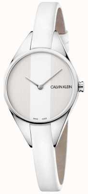 Calvin Klein Zegarek damski z białą skórą K8P231L6