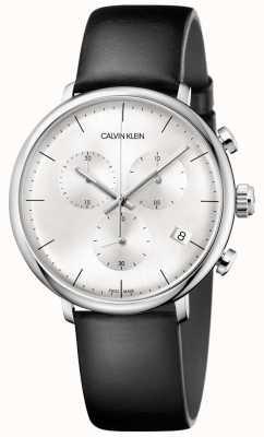 Calvin Klein Zegarek chronograf męski czarny zegarek z czarnej skóry K8M271C6