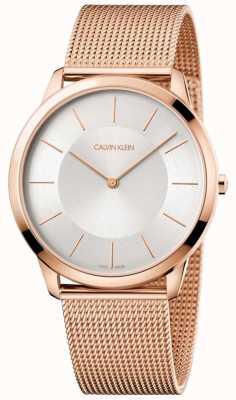 Calvin Klein Męska minimalna bransoleta z różowego złota, srebrna tarcza K3M2T626
