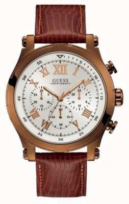 Guess Kotwica męska sportowa chronograf brązowa okrągła W1105G2
