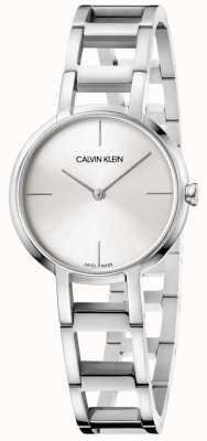 Calvin Klein Panie witają srebrny zegarek ze stali nierdzewnej K8N23146