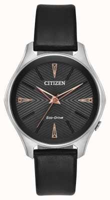 Citizen Czarno-skórzany damski zegarek ze skóry typu eco EM0591-01E