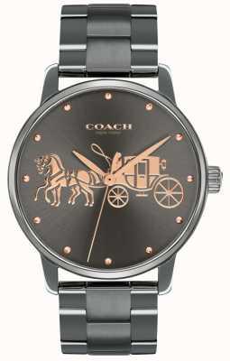 Coach Damska czarna, czarna obudowa platerowana i bransoletka z różowego złota 14502924