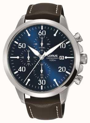Lorus Męski zegarek chronografowy z brązowym skórzanym paskiem niebieska tarcza RM353EX9
